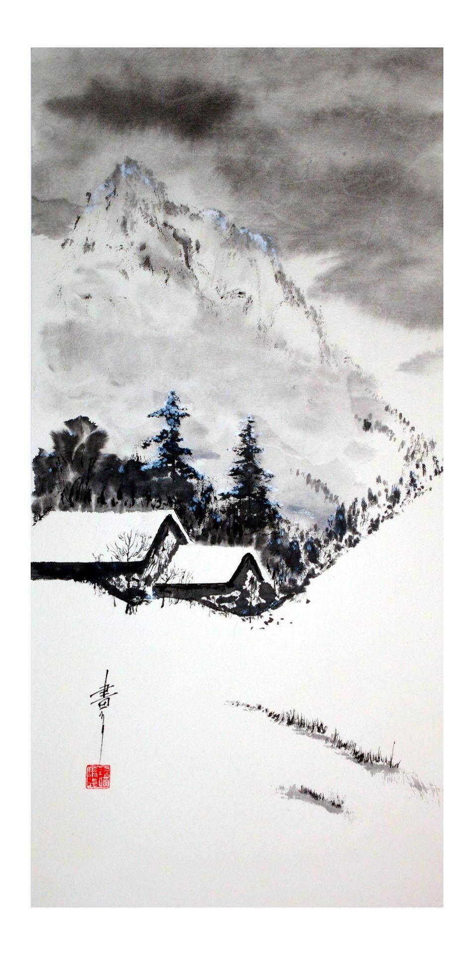 Hiver Le Ciel Est Noir La Terre Est Blanche La Peinture Zen Ou