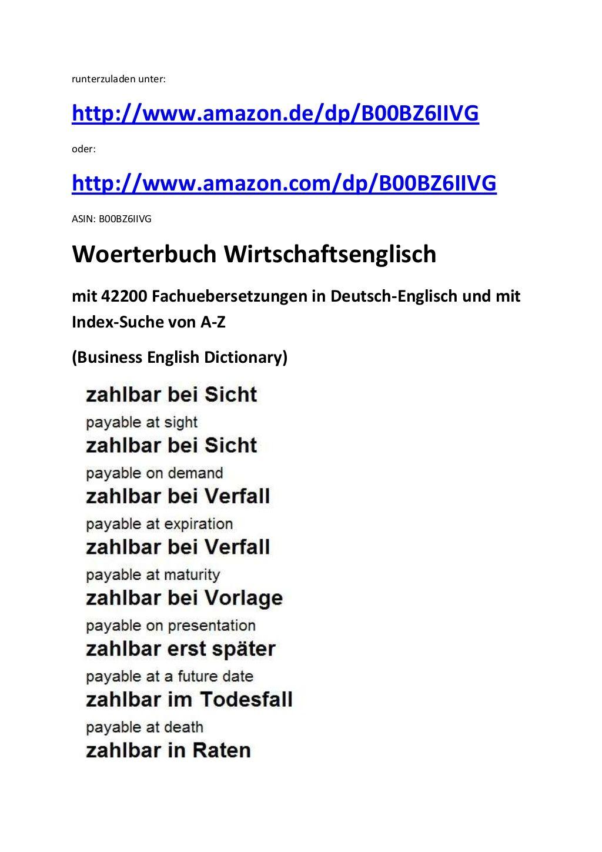 Markus Wagner Leseprobe Zur Vokabelliste A Z Wirtschaftsdeutsch Englisch Business German English Glossary Book Lists Language List