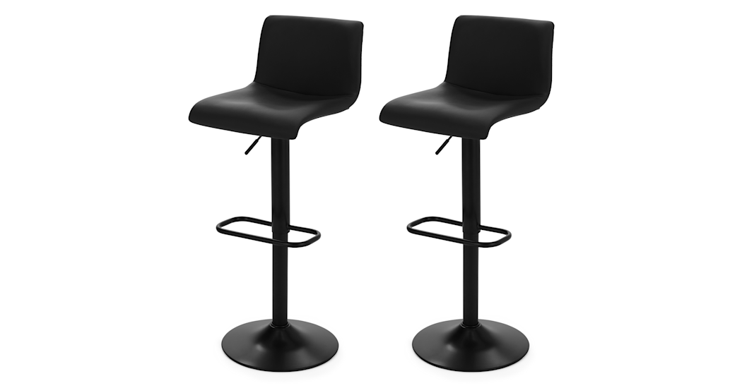 Set Of 2 Adjustable Bar Stools In Black Fabric Sean Made Com 椅子