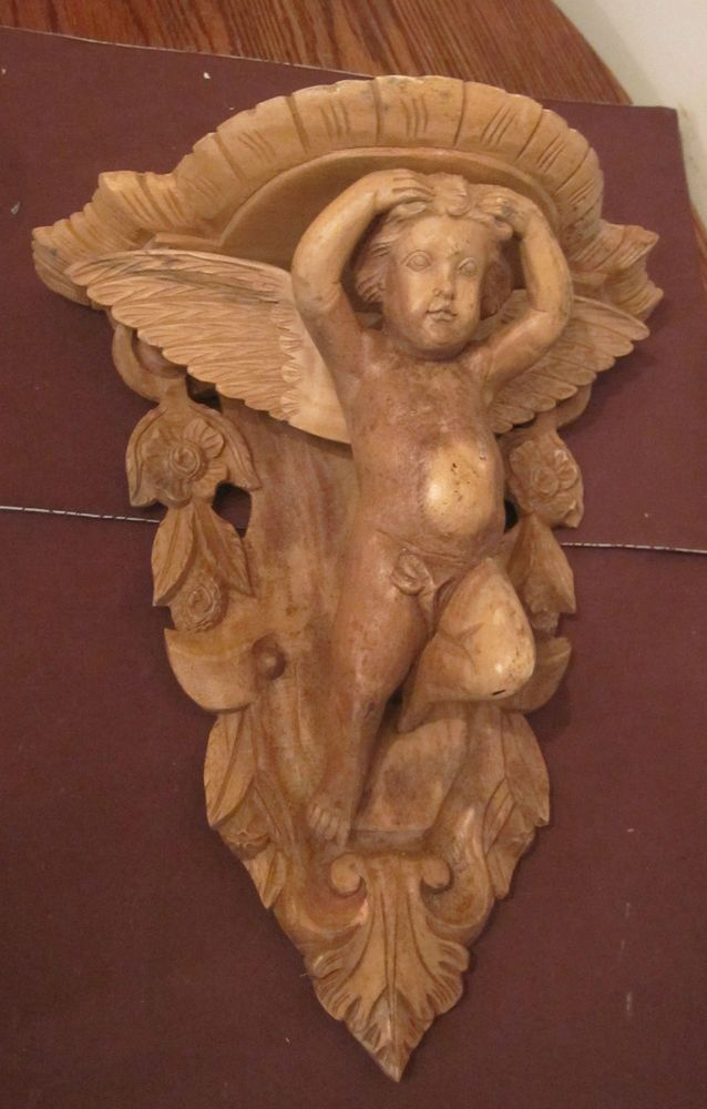 Antique Large Hand Carved Wood Cherub Angel Figural Wall