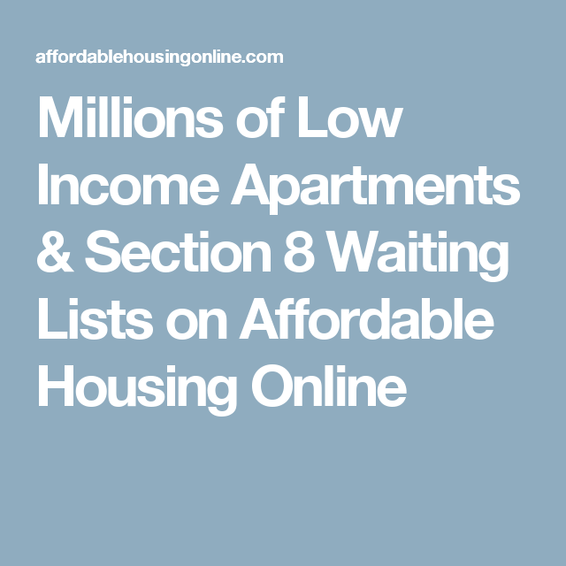 Millions of Low Income Apartments & Section 8 Waiting Lists