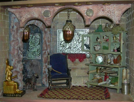 Miniature Children S Bedroom Room Box Diorama: Merlin's Lair 1/12 Scale Diorama Fantasy Room Box By