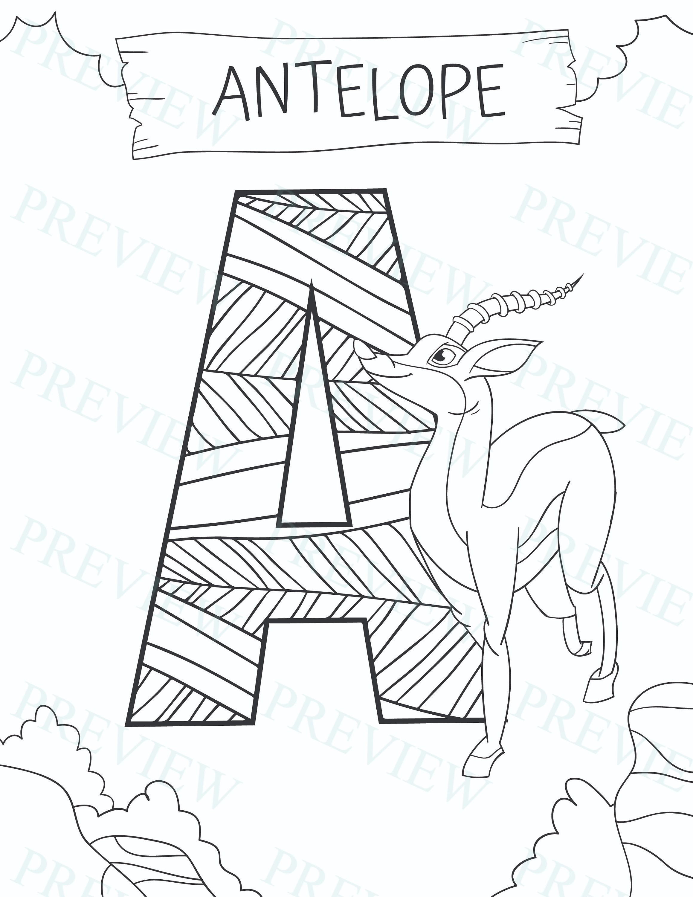 26 Animal Coloring Pages Alphabet Sheets Pdf Wildlife Letters Etsy Animal Coloring Pages Coloring Pages Letters