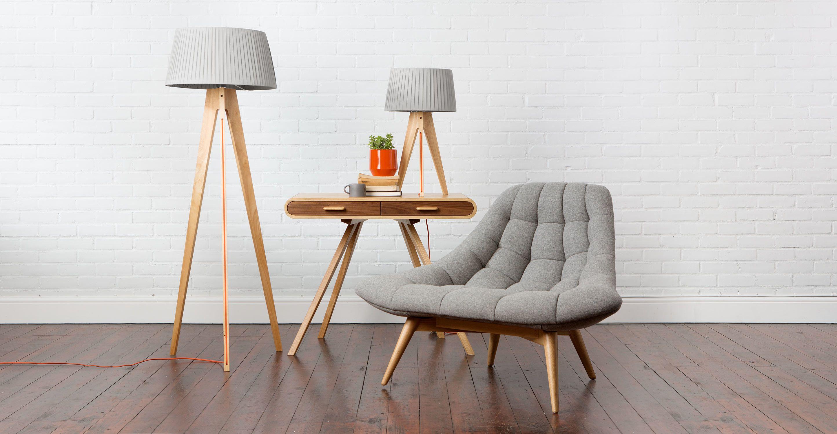 Miller Table Lamp Natural Wood And Orange Interer