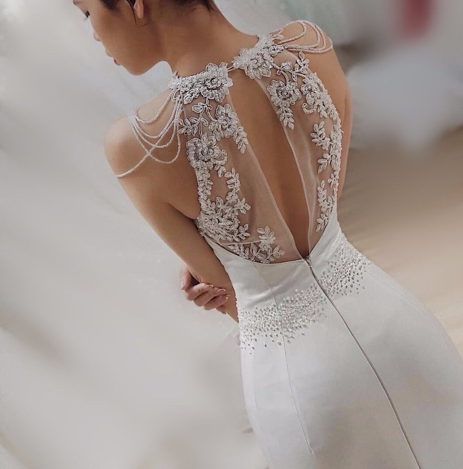 Beautiful White Lace Halter Dress with Unique Back Detail
