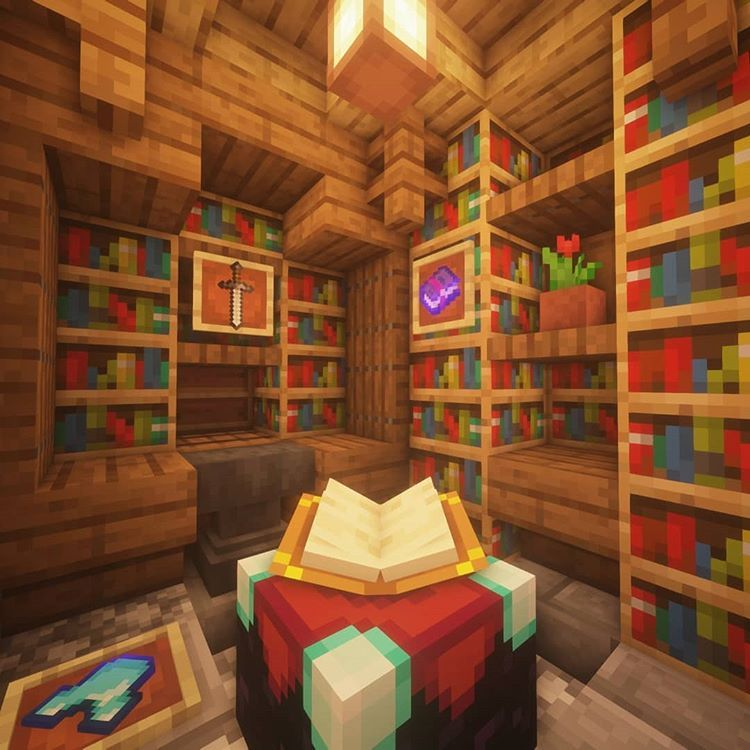 Here Is An Enchanting Room Design The Enchantment Table Works And Is Level 30 In Addit Minecraft House Designs Minecraft Interior Design Minecraft Designs