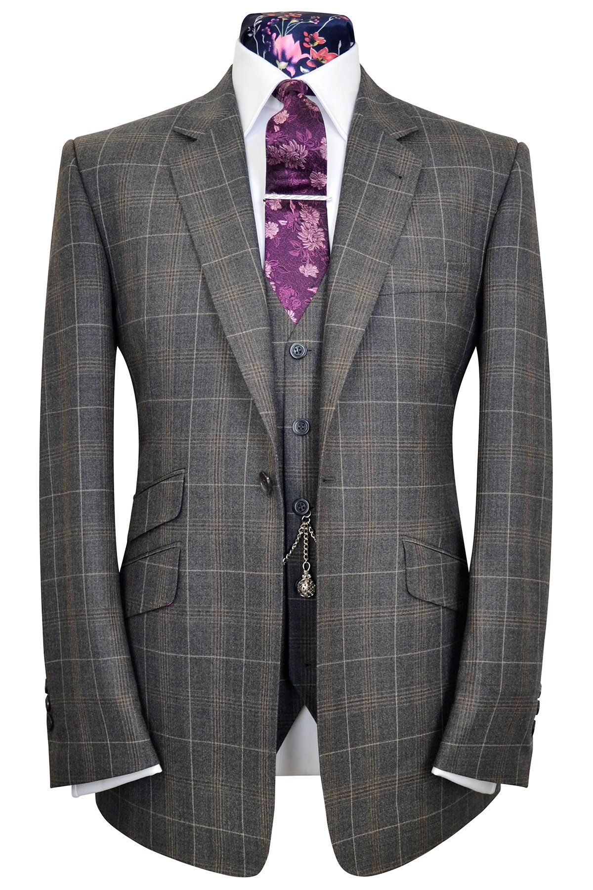 8acd6e5bfa59b The Caldwell Grey & Tan Windowpane Check Suit in 2019 | Mens suits ...