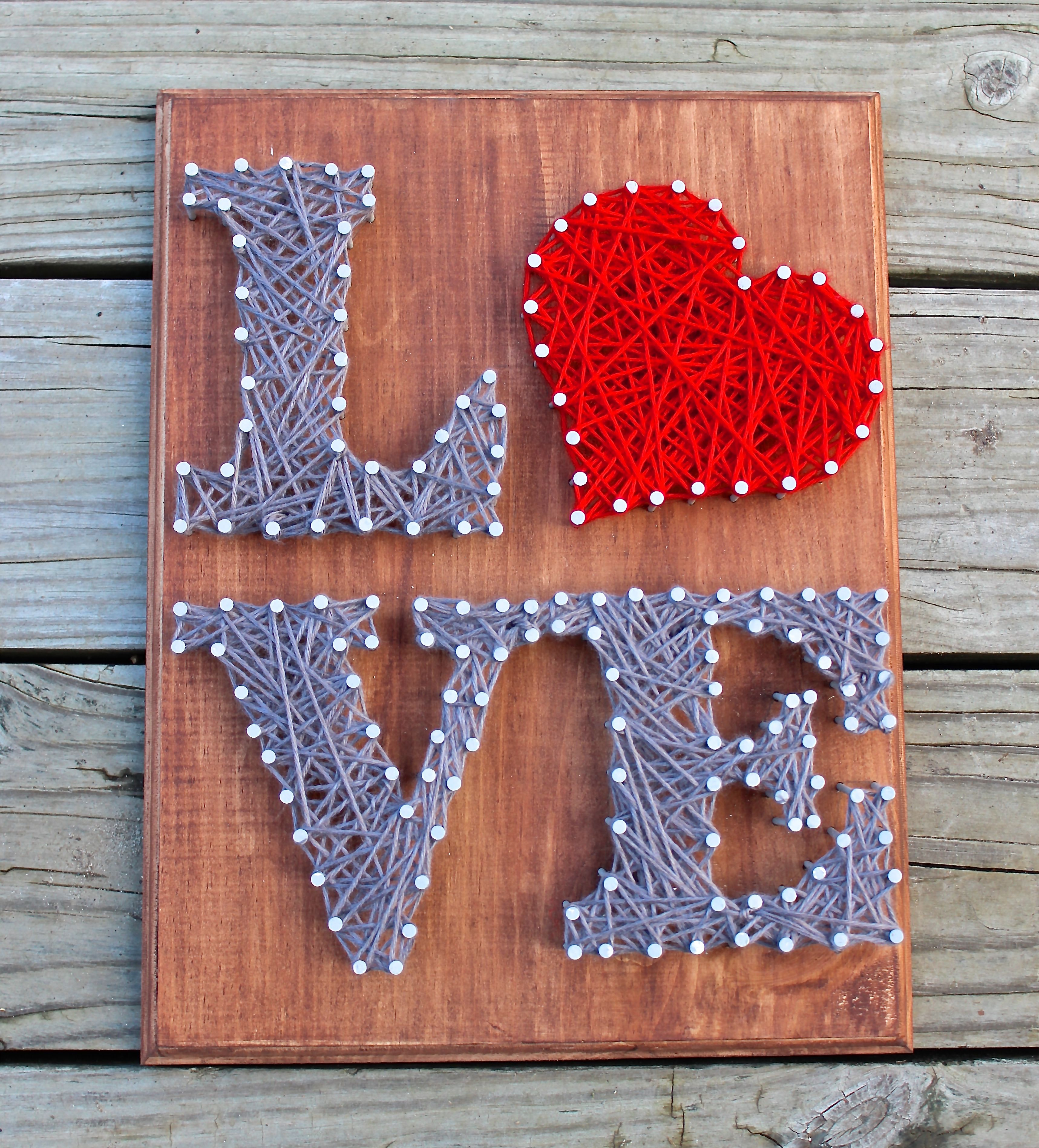 hand stained and handmade love design nail and string art. Black Bedroom Furniture Sets. Home Design Ideas