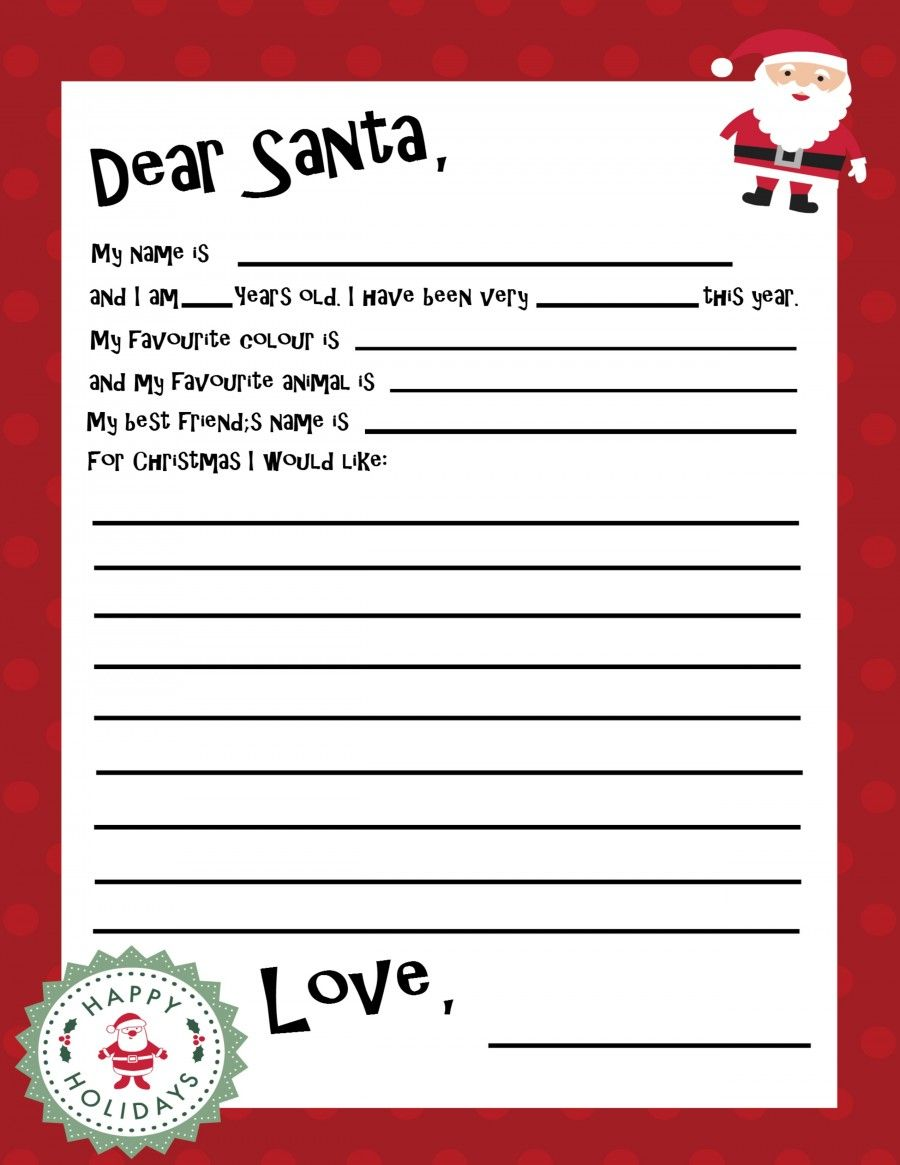 Free Printable Santa Letter Template Holiday Christmas Pinterest