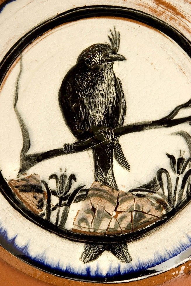 "Jane Shellenbarger - ""Bird and Shards"", 14""Diameter, Earthenware, Shards, Slips and Glaze."