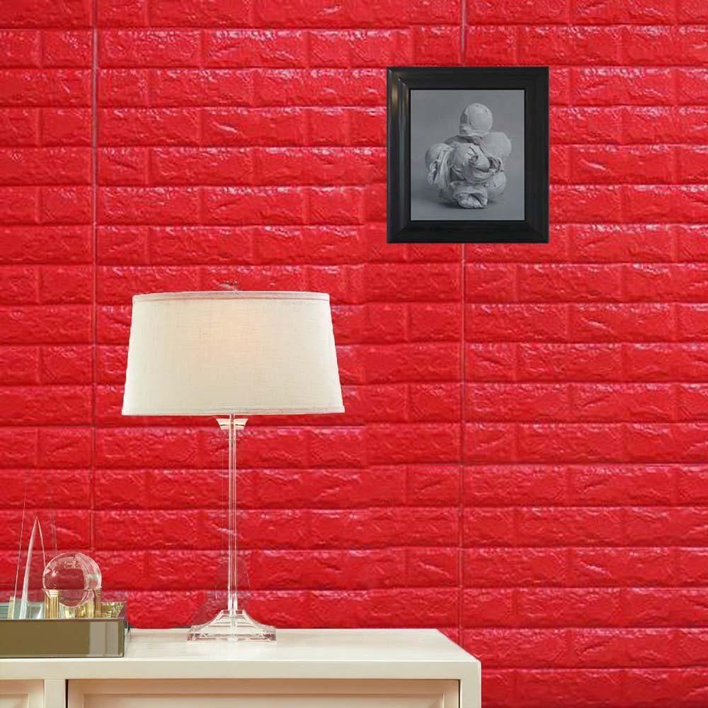 10 Pcs 58 Sq Ft Red 3d Faux Foam Bricks Self Adhesive Waterproof Art Wall Panel 3d Wall Panels Wall Paneling Wall Tiles