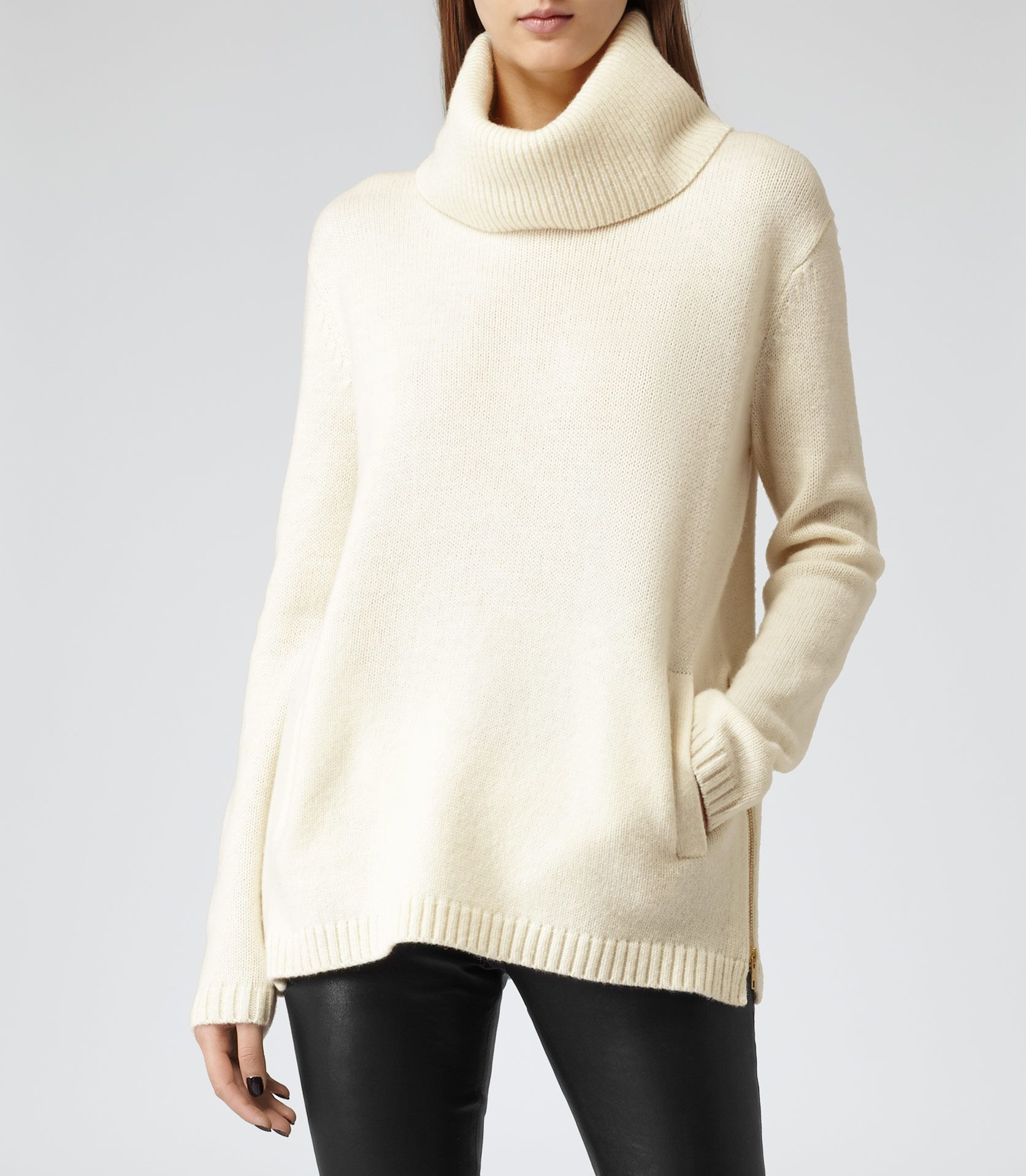 Womens Chalk Oversized Roll-neck Jumper - Reiss Malin | wish list ...