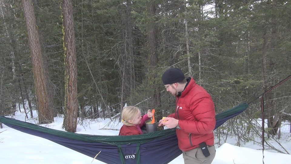 Taking a hammock on a snowshoeing trip cool idea