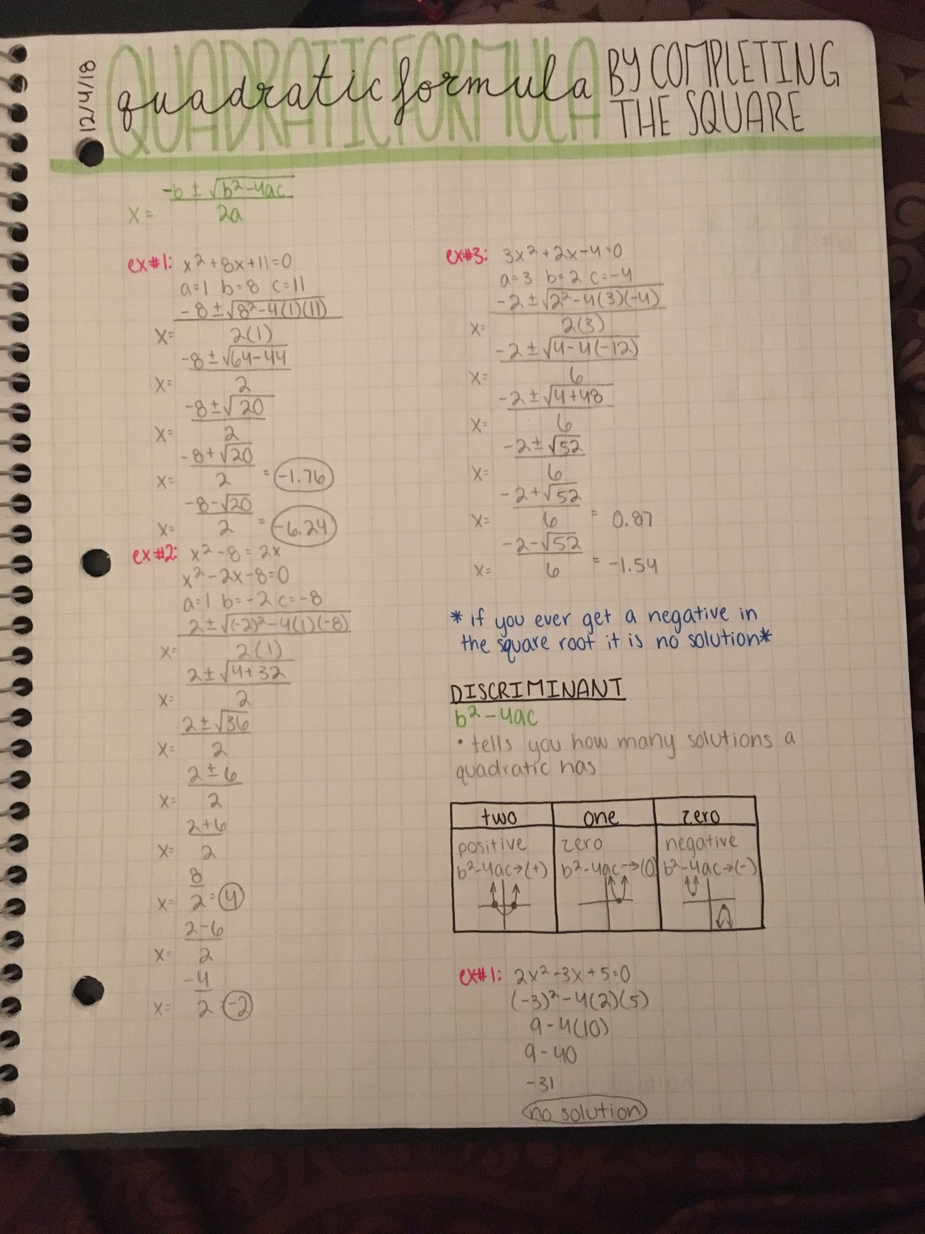 Algebra Quadratic Formula By Completing The Square Notes Math Notes School Algebra College Math Notes [ 4032 x 3024 Pixel ]