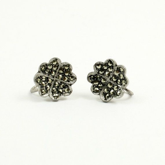 Art Deco Marcasite Earrings Sterling Silver Four Leaf by mybooms