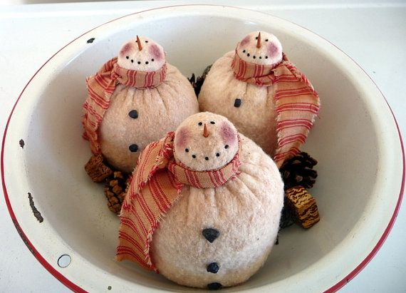 Primitive snowman ornie tuck bowl filler prim by ahlcoopedup, $16.95