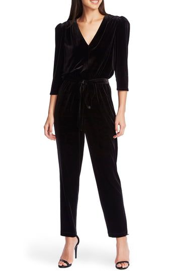 New 1.STATE Tie Waist Velvet Jumpsuit online 1