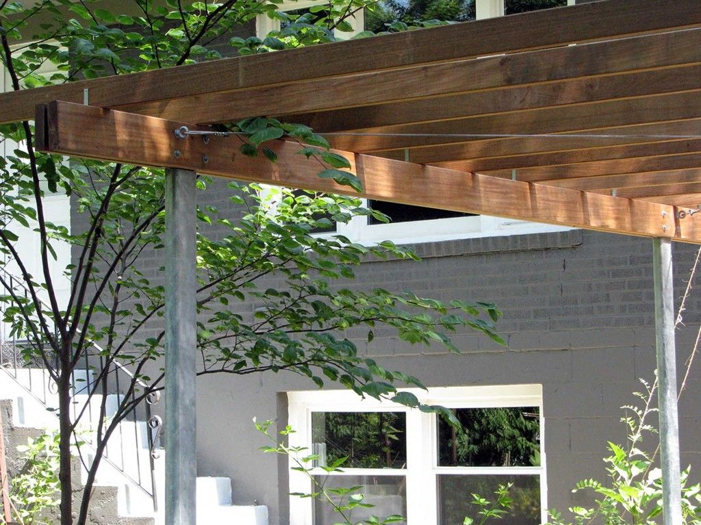 handsome pergola galvanized metal supports custom made with ipe wood slats on top garden