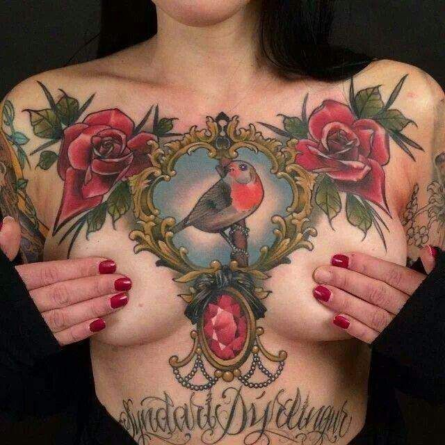 Girl Chest Tattoo Jpg 640 640 Chest Tattoos For Women Chest Tattoo Tattoos For Women