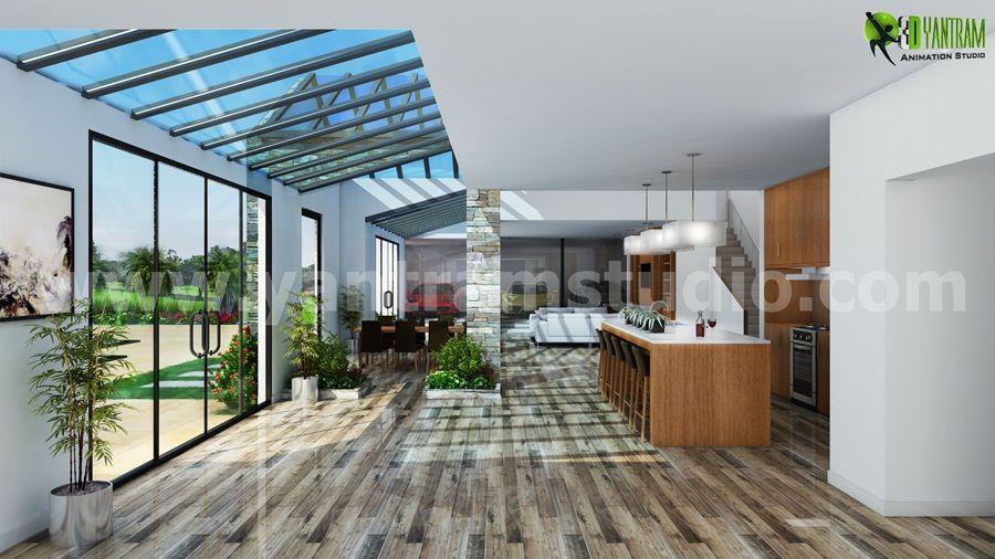 Sala de estar interior 3D y diseño de cocina | Diseño de interiores ...