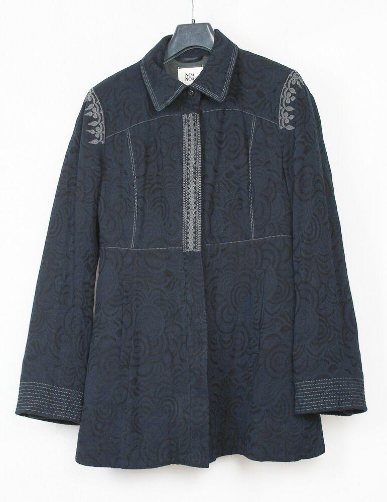 Noa Noa Damen Caban Mantel Jacke Coat Trench Bestickt Stickerei Jacquard Navy L
