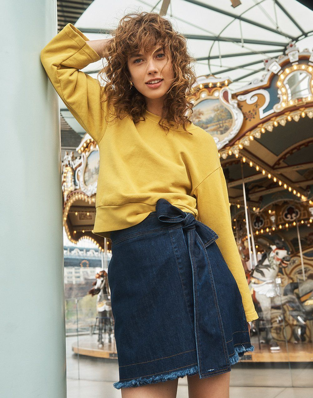 9c140972f4c6 madewell x karen walker denim killick skirt worn with madewell x karen  walker garment-dyed sweatshirt.
