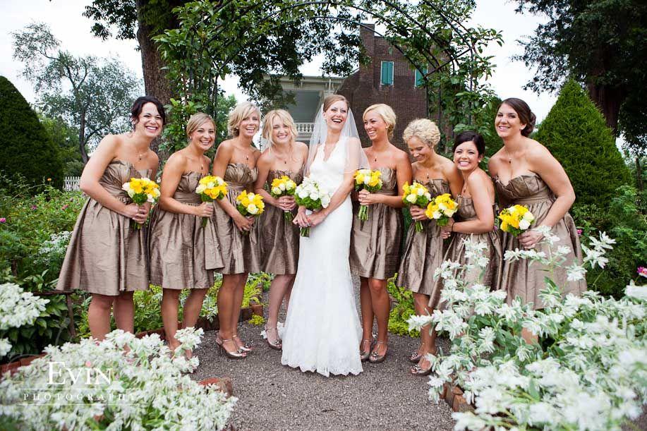 Yellow and bronze wedding dresses