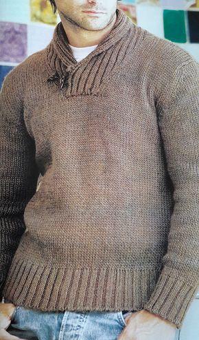 Patrón para tejer un sweater de hombre en Punto Jersey | Punto ...