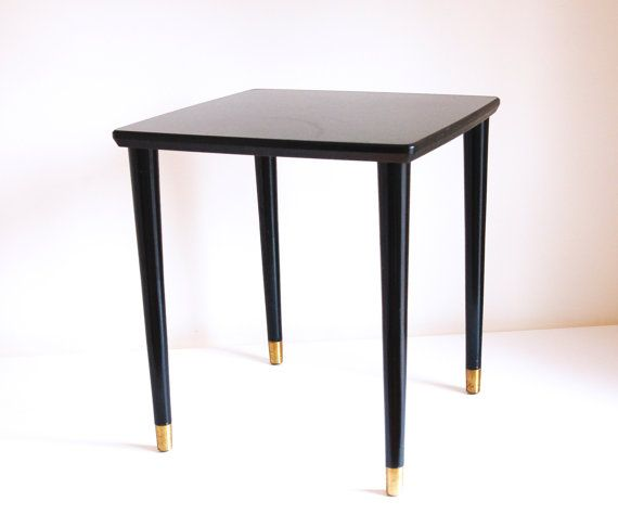 Black Modern Bedside Table: Mid Century Side Table / Black With Gold Feet