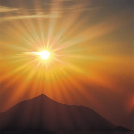 Photographic Print: Sun Shinning Over the Mountain, Computer Graphics, Lens Flare : 16x16in