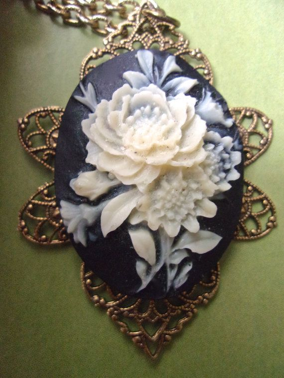 7097ba65d40 White Rose Cameo Pendant Necklace Black by RenaissanceFair on Etsy ...