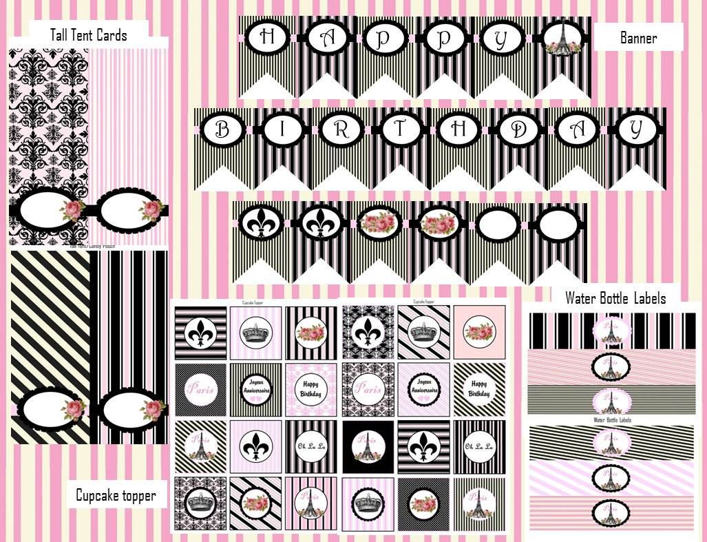 Paris Theme Birthday Printables 1200 a massive DIY kit