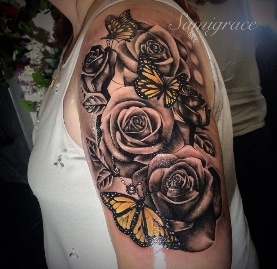 Roses And Butterfly S 12 Tattoos Tattoos Sunflower Tattoo Sleeve