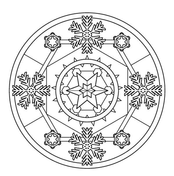 Mandala de invierno: dibujo para colorear e imprimir   Tél/Winter ...