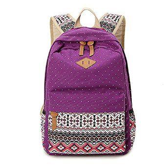 3764858d0f Amazon.com  Abshoo Cute Lightweight Canvas Bookbags School Backpacks for Teen  Girls (Purple)  Clothing