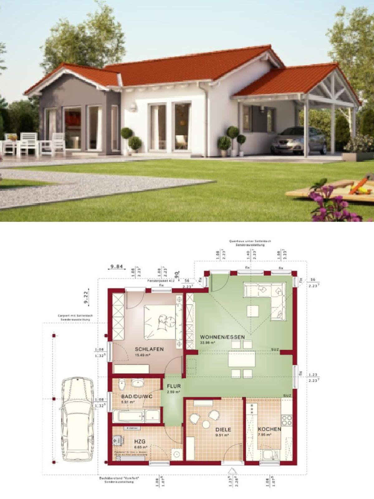 5m2 bad ideen bungalowhaus im landhausstil mit satteldach und carport  gru
