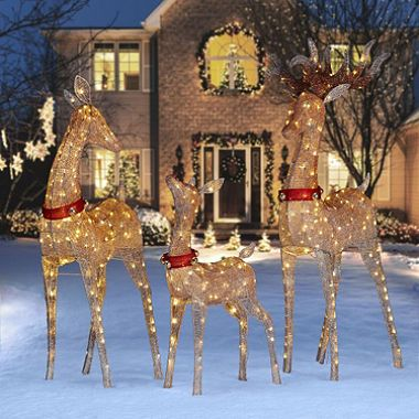 Member S Mark Twinkling Mesh Deer Family Set Of 3 Brown Outdoor Christmas Decorations Christmas Yard Decorations Outdoor Christmas