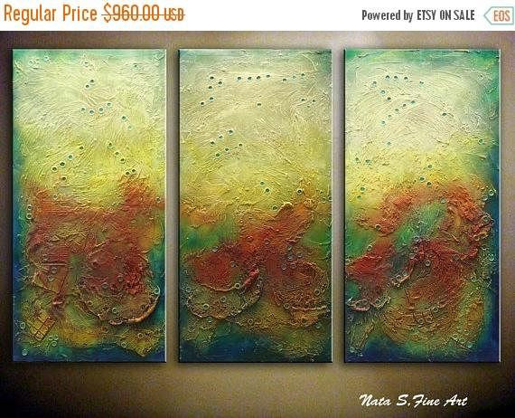 LARGE ABSTRACT Painting, Original Modern Heavy Textured Art, Palette ...