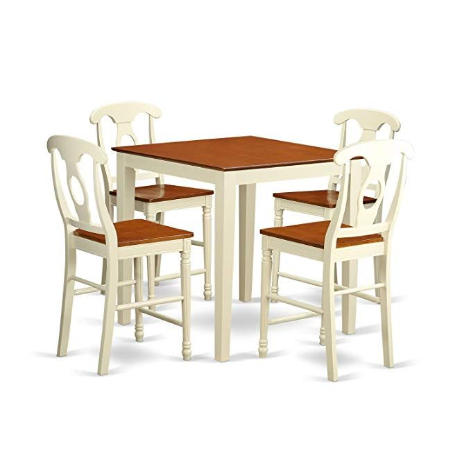 East West Furniture Vnke5 Whi W 5 Piece High Table And 4 Bar Stools Set Review