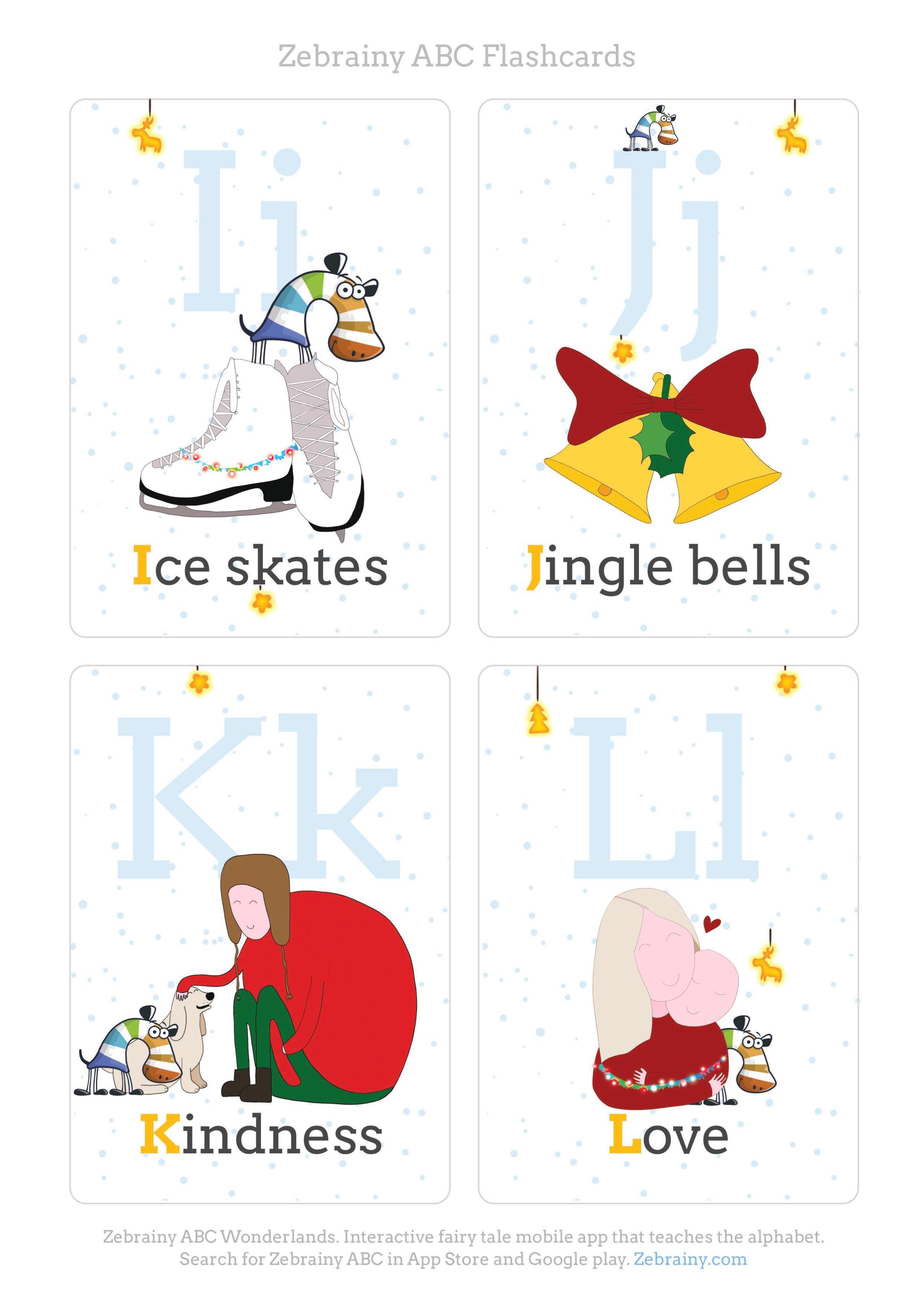 Christmas printable abc flash cards abc printables