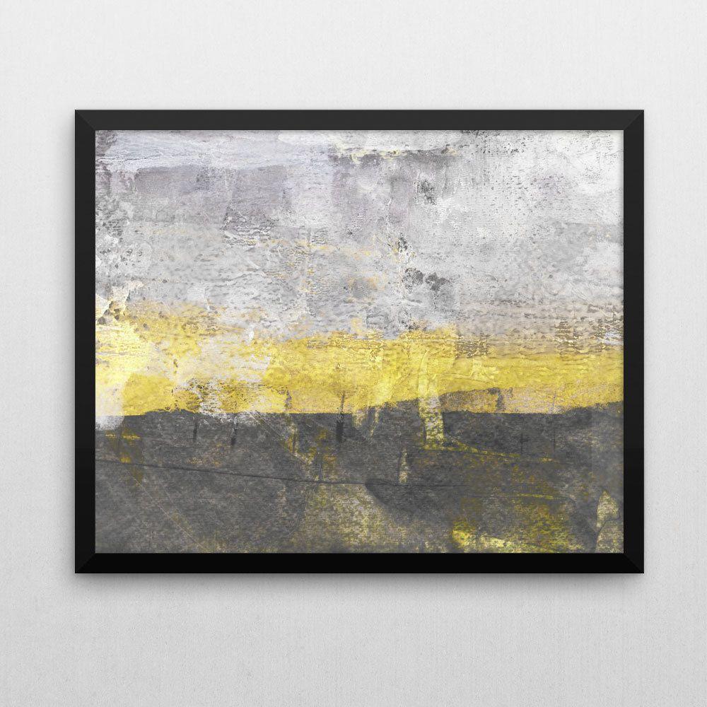 Grey And Yellow Wall Art abstract wall art, yellow and grey, neutral decor, yellow wall art