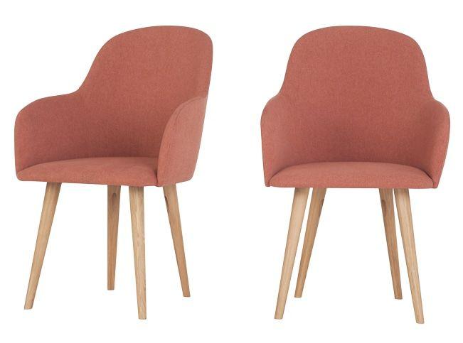 2 x Stig, chaise à dossier haut, rose et bois naturel Salons