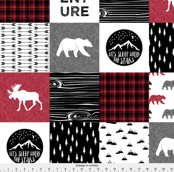 Red Cheater Quilt Fabric - Sewing fabric Happy Camper | Wholecloth ... : cheater quilt tops - Adamdwight.com