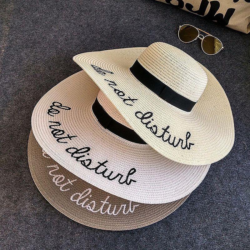 5fa38ca2dc31d Buy IAMPANDA brand new letter embroidery Big brim sun hats straw hats for women  summer hat Panama ladies Beach sun hat free shipping at capslockclothes.com!