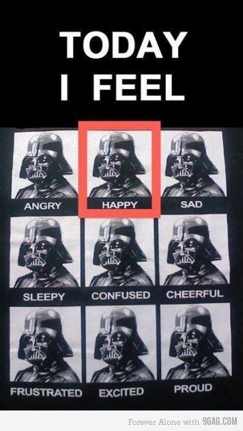 9gag Mydollyaviana Star Wars Humor Star Wars Darth Vader Emotions