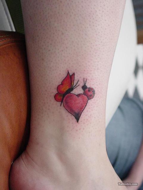 Tiny ladybug tattoo small heart tattoo tats for Ladybug heart tattoos