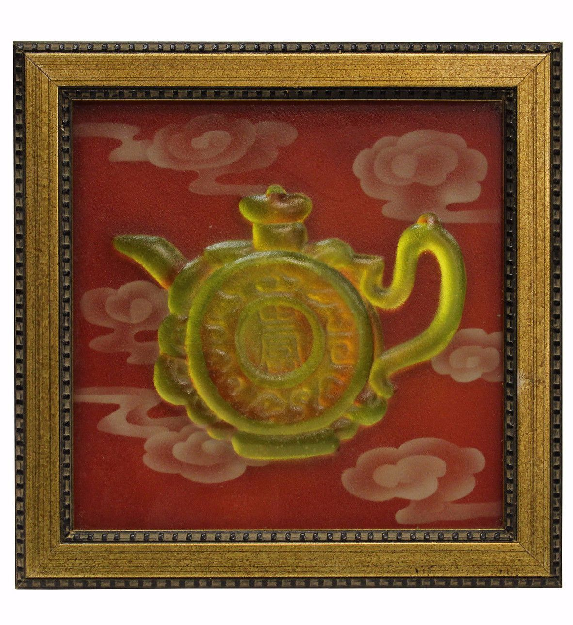 Solid Piece Liuli Glass 3D Teapot Pattern In Framed Wall Paint Art ...