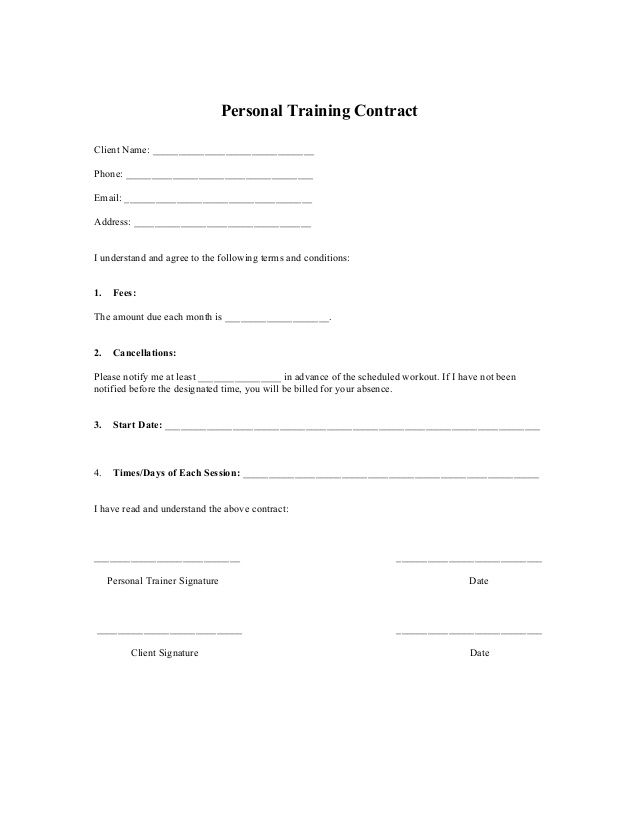 Printable sample personal training contract template form for Personal training program template