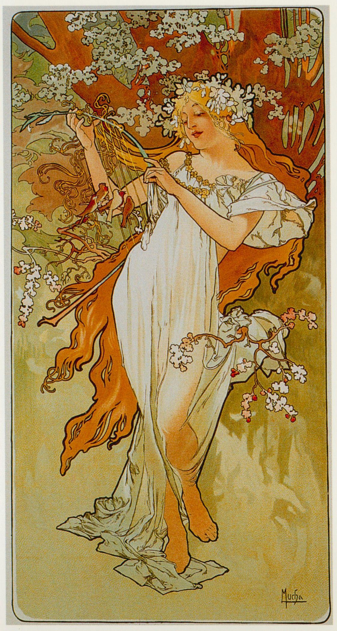Seasons Spring Alphonse Mucha Art Nouveau Mucha