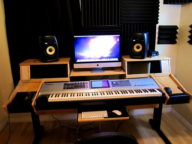 Bedroom licious home studio desk design ideas simple for Bedroom recording studio